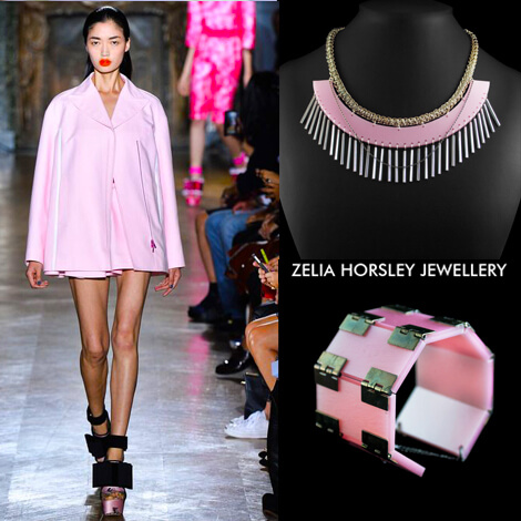 SS14 John Galliano & Zelia Horlsey Jewellery London. The Tempest Necklace & Pearl Pink On A Roll Cuff.