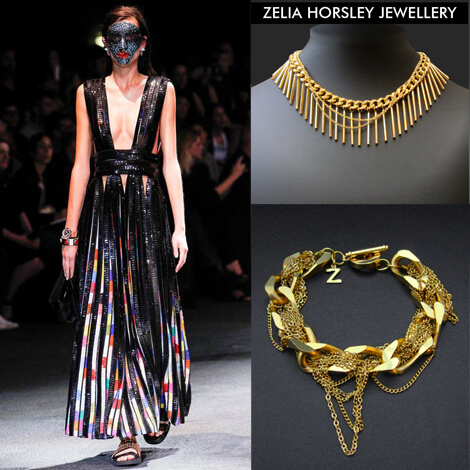 SS14 Givenchy & Zelia Horsley Jewellery London. Snaked Crystal Collar Necklace & Threadgold Bracelet.