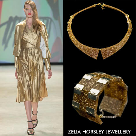 SS14 Jean-Charles De Castelbajac & Zelia Horsley Jewellery London costume Jewellery Uk, CURVERD RAY COLLAR NECKLACE, THREADGOLD BRACELET.