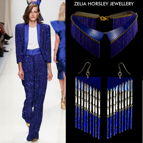 SS14 Valentin Yudashkin & Zelia Horsley Jewellery London - Neon Blue Crystal Collar Necklace & Neonangle Earrings.