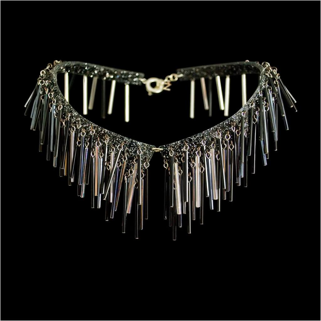 Zelia Horsley Jewellery London - fashion collars -Crystal Fur Colllar
