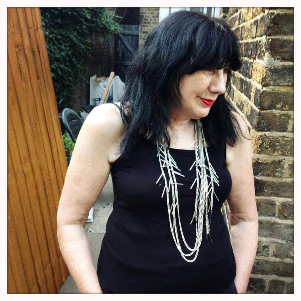 My Mum wearing Crystal Pelt Necklace By Zelia Horsley Jewellery London.