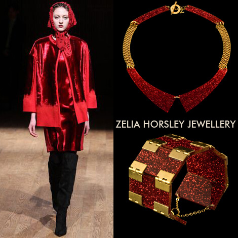 AW14 Josie Natori fashion & Zelia Horsley Jewellery London's Glow Cut Collar & Scarlett Lustre On A Roll Bracelet