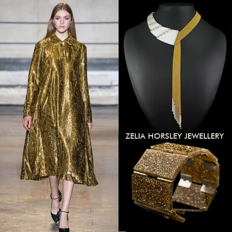 AW14 Rochas & Zelia Horsley Jewellery London's The Femme Fatale Necklace & Golden Lustre On A Roll Reversal Bracelet.